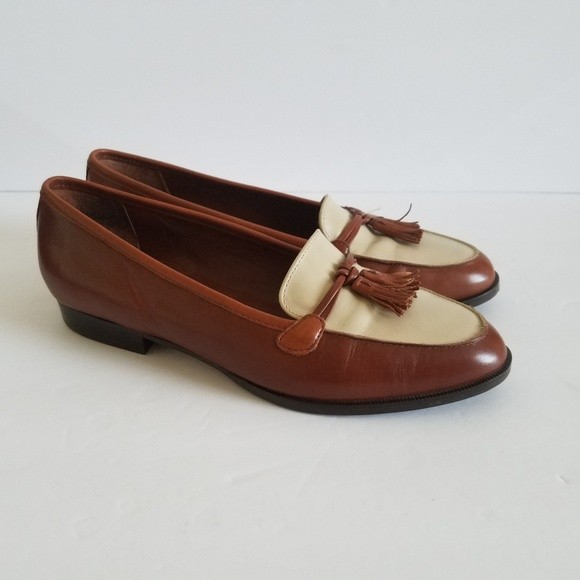 23a55be0f2d9e Etienne Aigner Ally Woven Brown Tassel Loafers